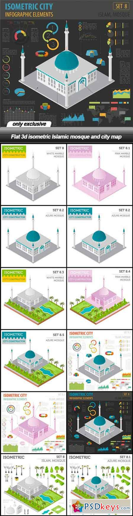 Flat 3d isometric Islamic mosque and city map - 12 EPS