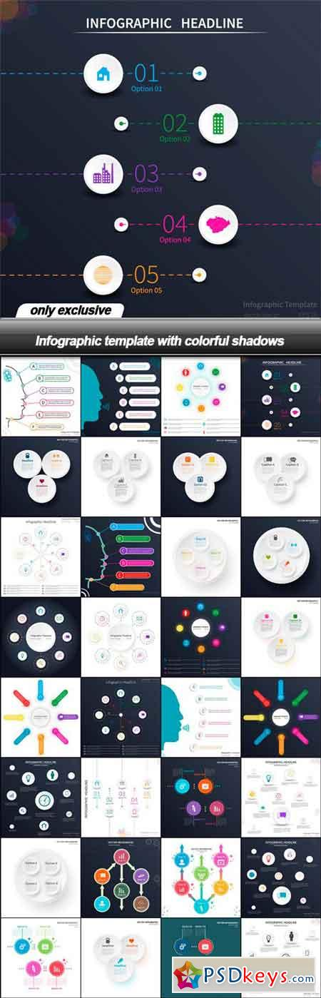 Infographic template with colorful shadows - 32 EPS