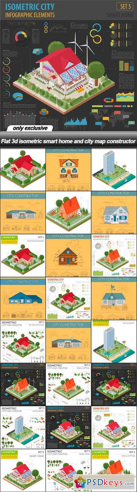 Flat 3d isometric smart home and city map constructor - 23 EPS