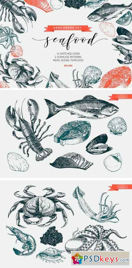 Seafood Hand Drawn Icon Set 1166347