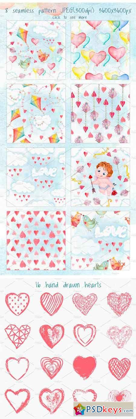 Valentines Day Love Watercolor Set 1166614