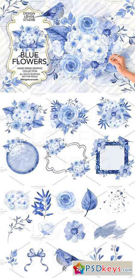 Watercolor Blue Flowers design 1238149 » Free Download Photoshop