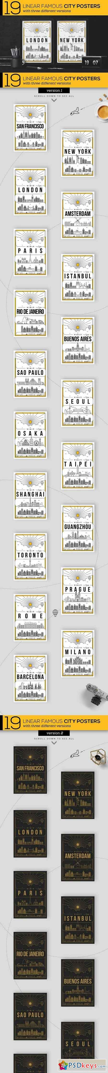19 Linear Famous City Posters 1229373