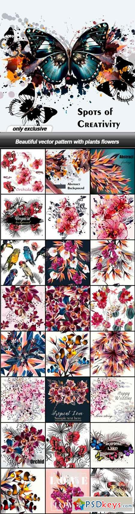 Beautiful vector pattern with plants flowers - 25 EPS