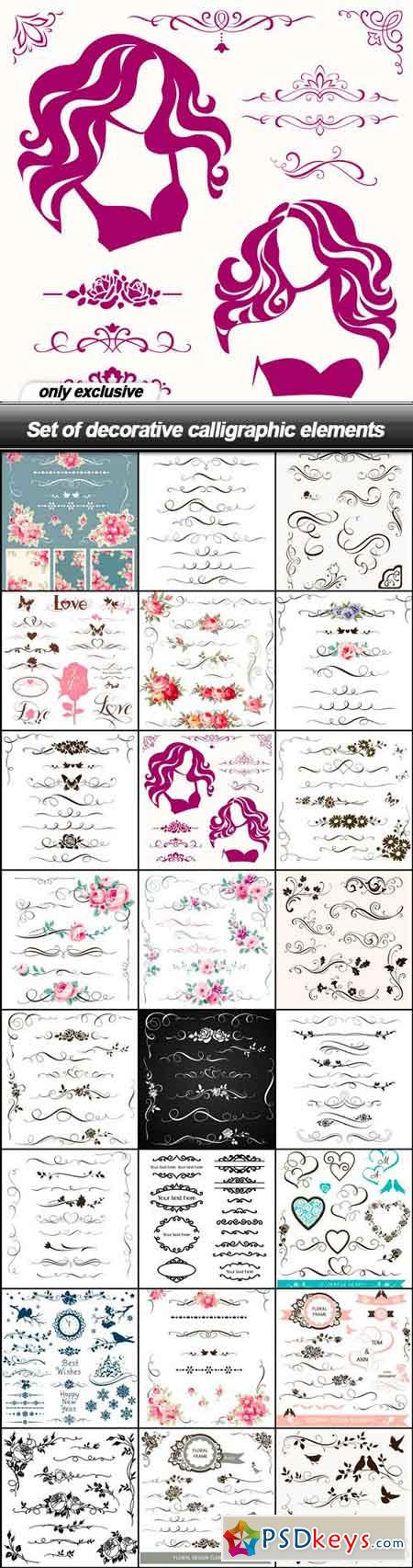 Set of decorative calligraphic elements - 24 EPS