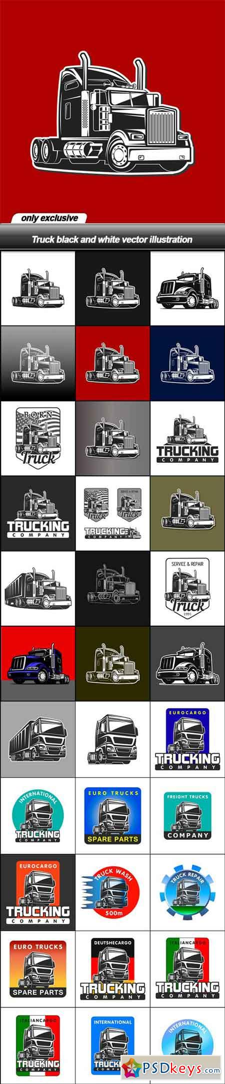 Truck black and white vector illustration - 33 EPS