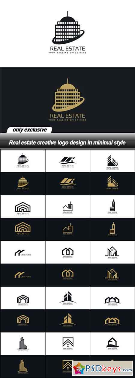 Real estate creative logo design in minimal style - 15 EPS