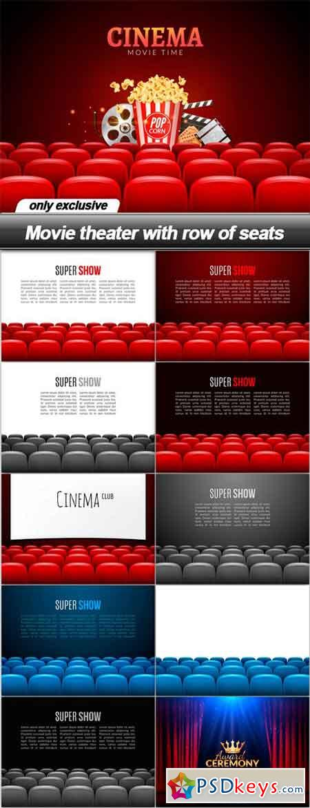 Movie theater with row of seats - 11 EPS