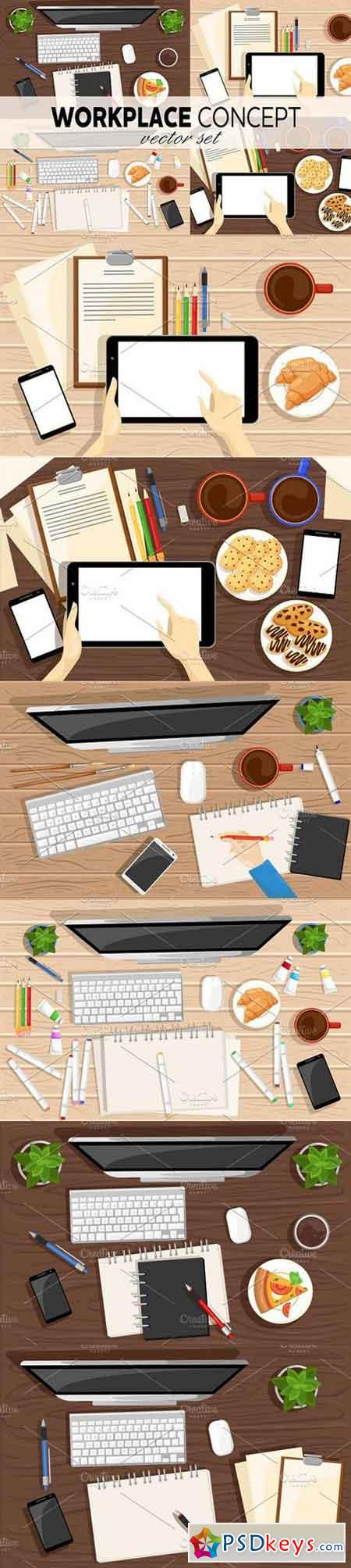 Workplace concept vector set 1250603