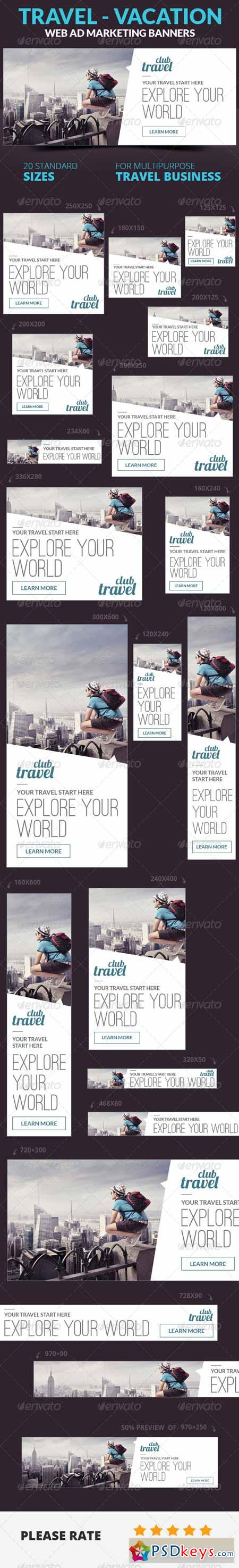 Travel - Vacation Web Ad Marketing Banners 6895832