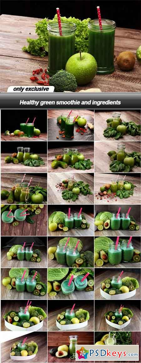 Healthy green smoothie and ingredients - 25 UHQ JPEG