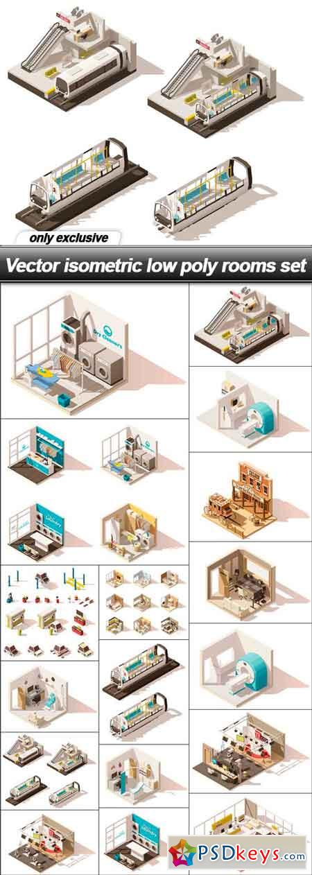 Vector isometric low poly rooms set - 17 EPS