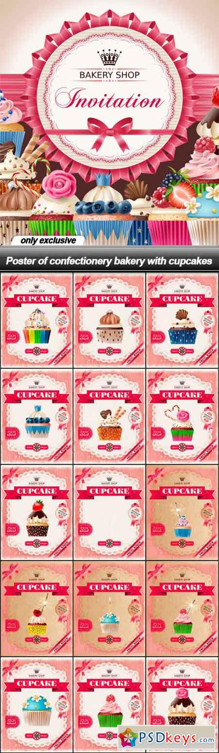 Poster of confectionery bakery with cupcakes - 16 EPS