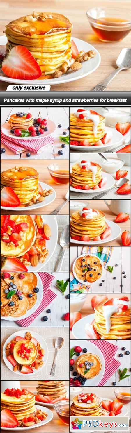 Pancakes with maple syrup and strawberries for breakfast - 13 UHQ JPEG