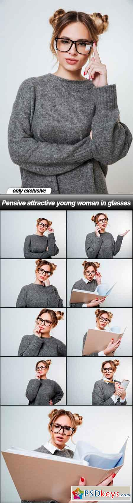 Pensive attractive young woman in glasses - 10 UHQ JPEG