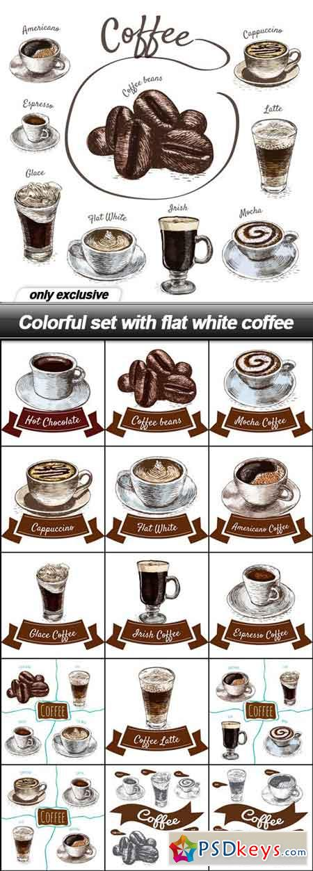 Colorful set with flat white coffee - 16 EPS