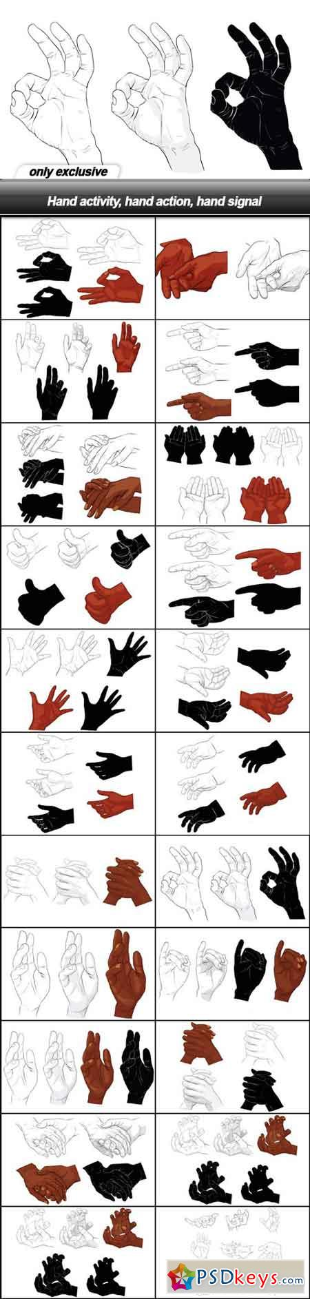 Hand activity, hand action, hand signal - 22 EPS
