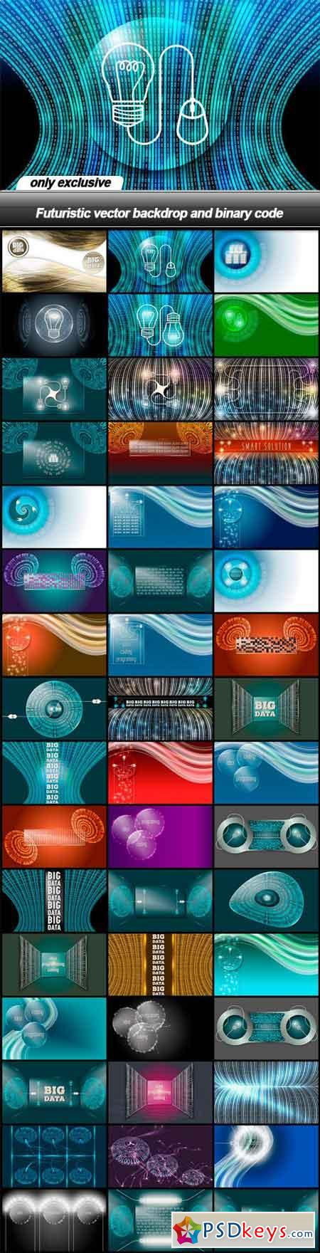 Futuristic vector backdrop and binary code - 48 EPS