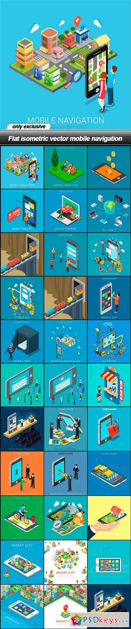 Flat isometric vector mobile navigation - 32 EPS