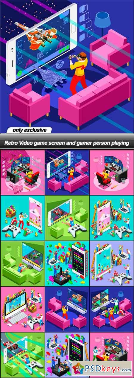 Retro Video game screen and gamer person playing - 15 EPS