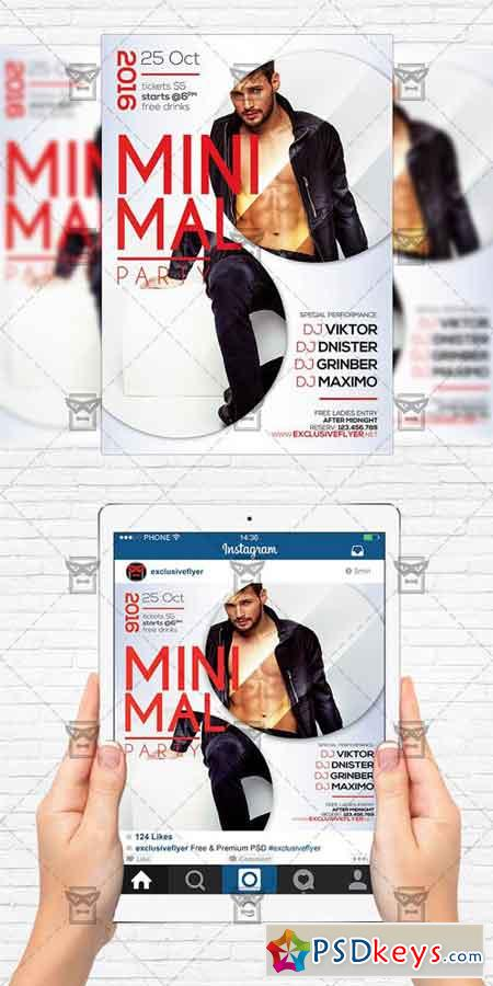 Minimal Party - Flyer Template+Instagram Size Flyer