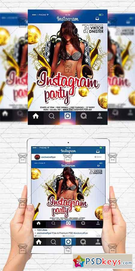 instagram party flyer template instagram size flyer free download photoshop vector stock. Black Bedroom Furniture Sets. Home Design Ideas