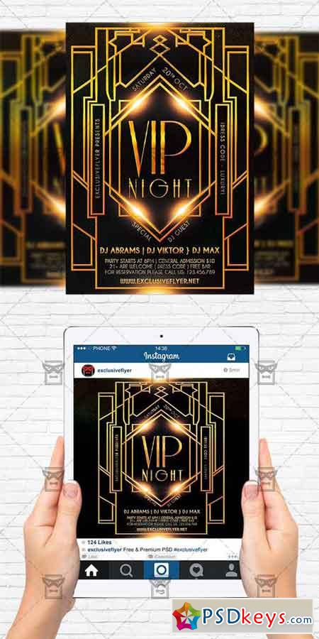 Vip Night - PSD Flyer Template+Instagram Size Flyer