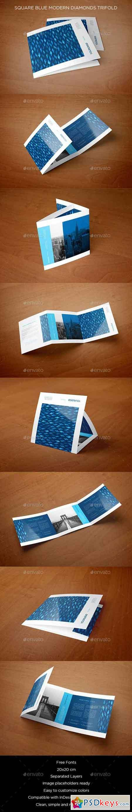 Square Blue Modern Diamonds Trifold 12418464