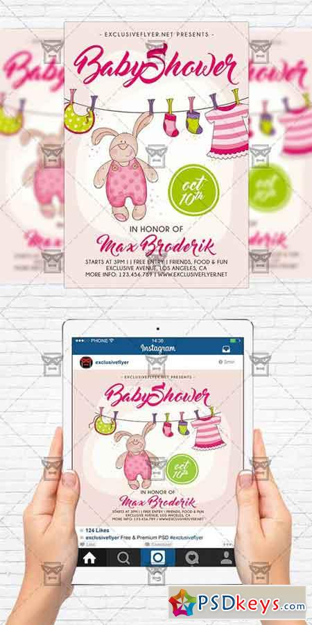 baby shower vol 5 flyer template instagram size flyer free download photoshop vector stock. Black Bedroom Furniture Sets. Home Design Ideas