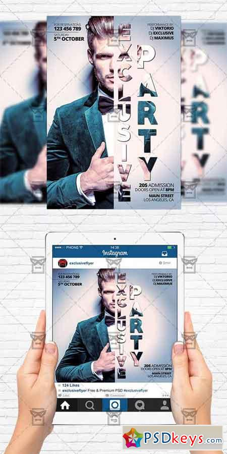 Exclusive Party - Flyer Template+Instagram Size Flyer