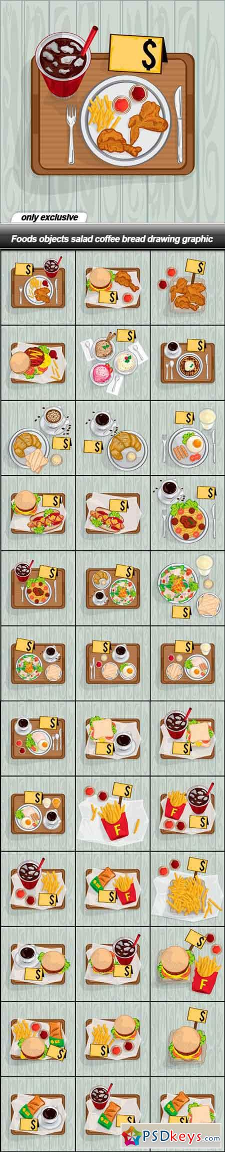 Foods objects salad coffee bread drawing graphic - 37 EPS