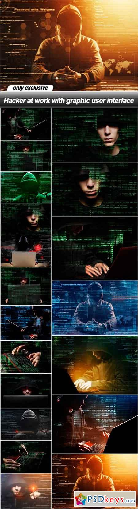 Hacker at work with graphic user interface - 19 UHQ JPEG