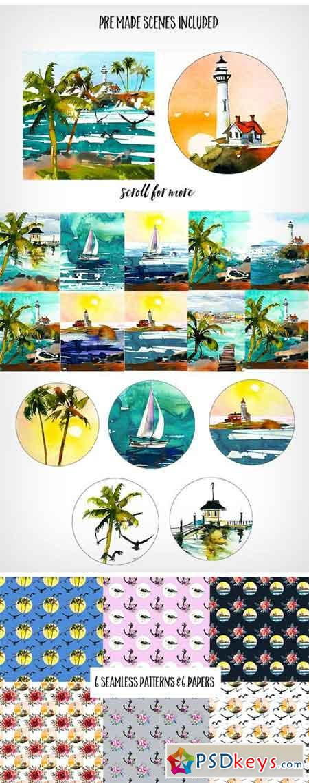 Watercolor Seascape Creator Kit 1140993
