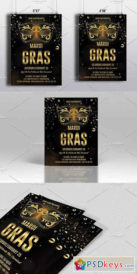 Mardi Gras Party Flyer-V492 1268640