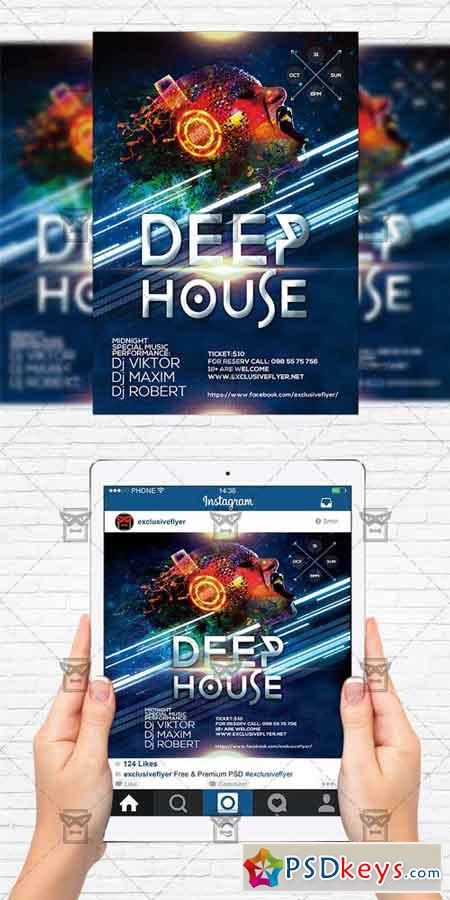 Deep House - Flyer Template + Instagram Size Flyer