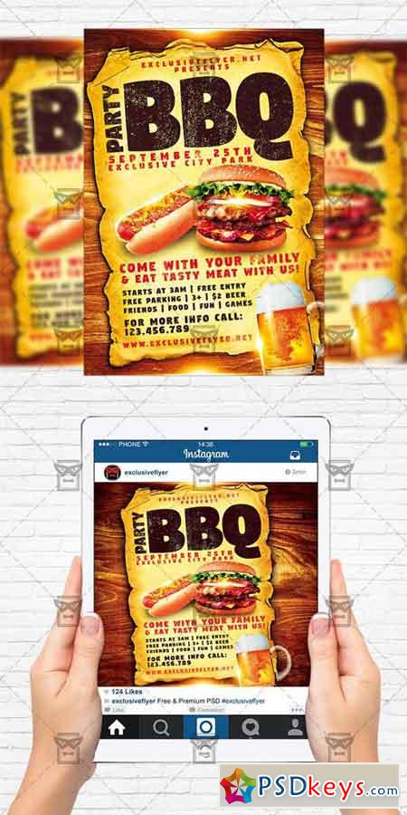 BBQ Party - Flyer Template + Instagram Size Flyer