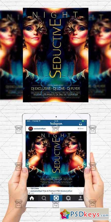 Seductive Night - Flyer Template + Instagram Size Flyer