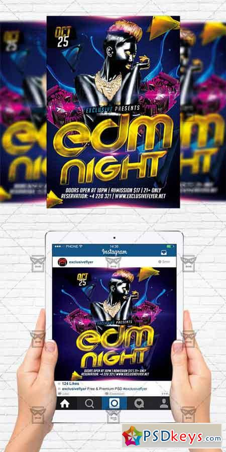 Edm Night - Flyer Template + Instagram Size Flyer