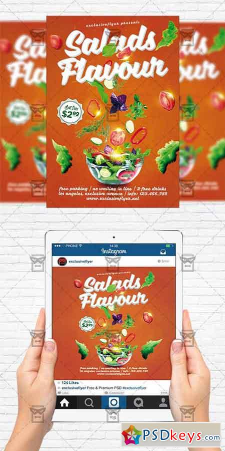 Salads Flavour - Flyer Template + Instagram Size Flyer