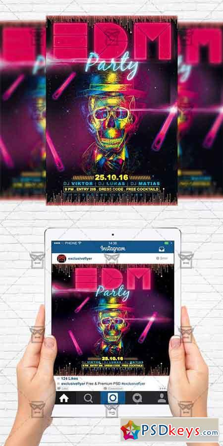 EDM Party - Flyer Template + Instagram Size Flyer