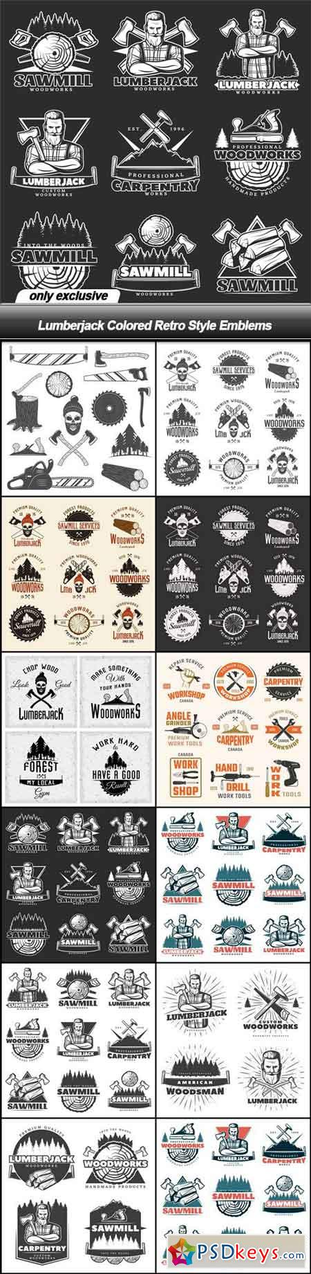 Lumberjack Colored Retro Style Emblems - 12 EPS