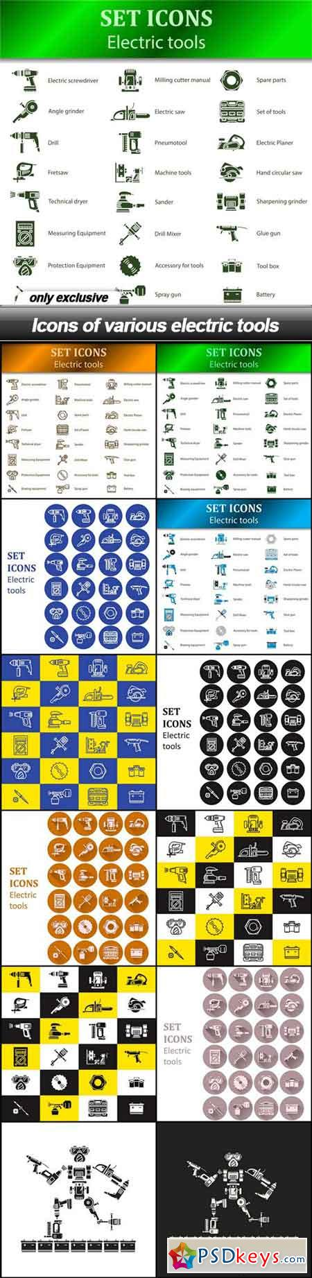 Icons of various electric tools - 12 EPS