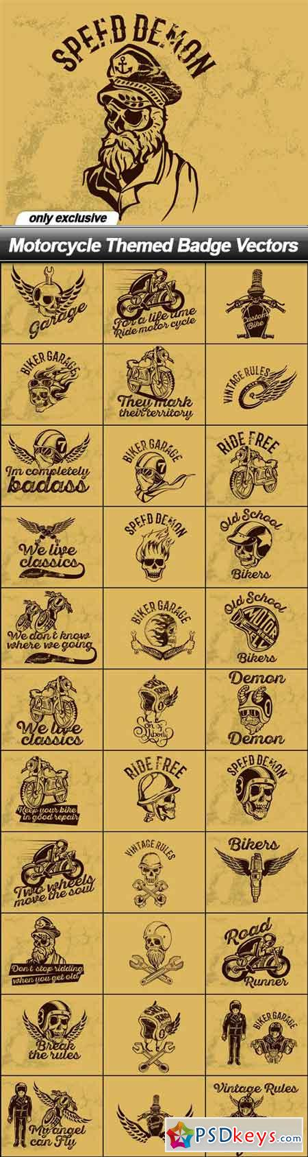 Motorcycle Themed Badge Vectors - 100 EPS