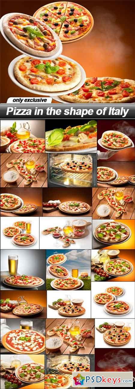 Pizza in the shape of Italy - 25 UHQ JPEG