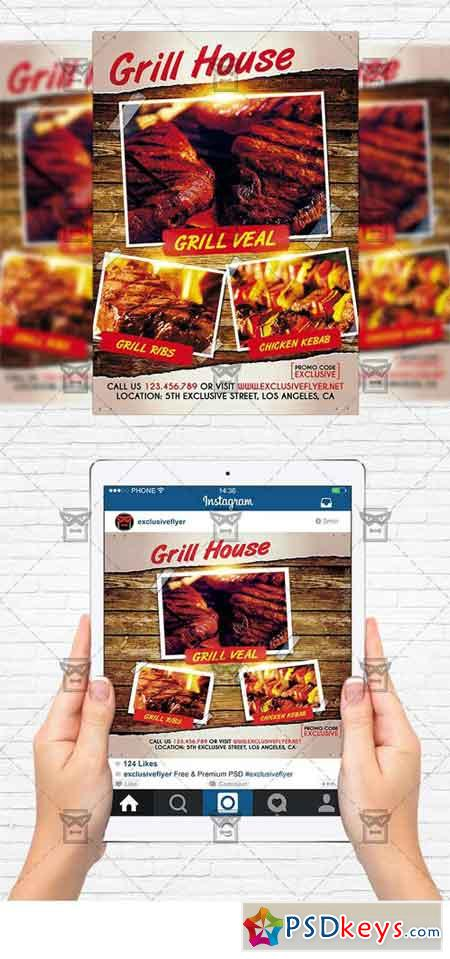 Grill House - Flyer Template + Instagram Size Flyer