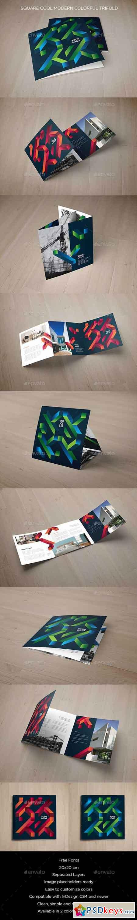 Square Cool Modern Colorful Trifold 19488954