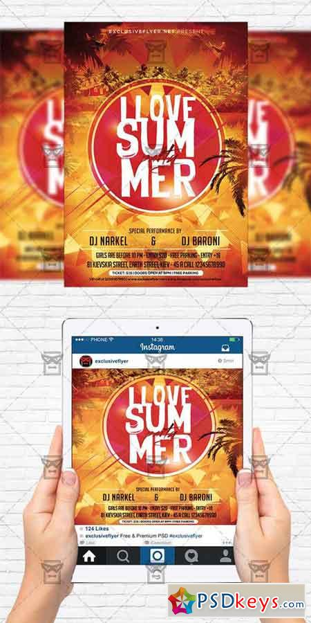 I Love Summer - Flyer Template + Instagram Size Flyer