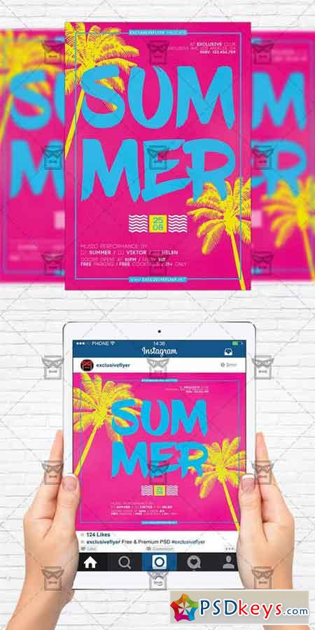 Summer Minimal Party - Flyer Template + Instagram Size Flyer