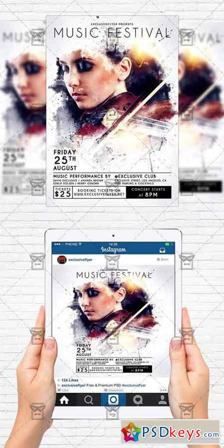 Music Festival - Flyer Template + Instagram Size Flyer