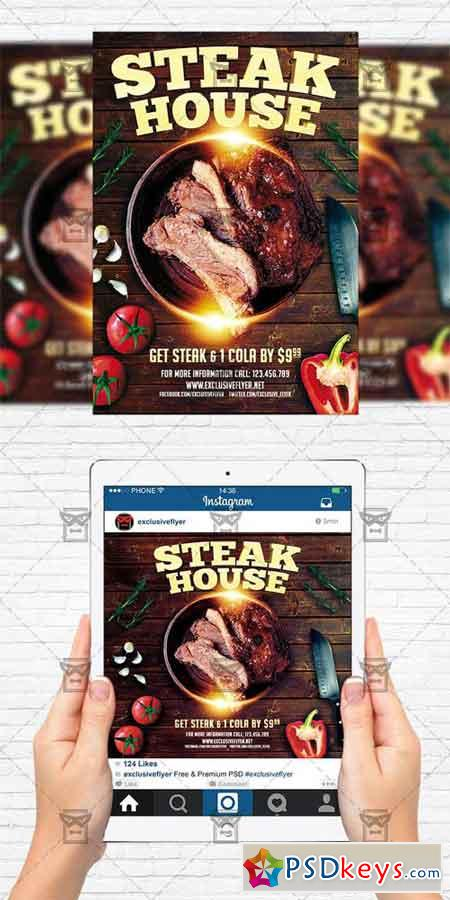 Steak House - Flyer Template + Instagram Size Flyer